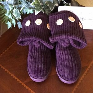 UGG Plum Purple Cardy 3 Button Knit High Boots